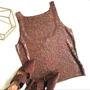 Ann Taylor 100% Silk Sequined Tank, Size S